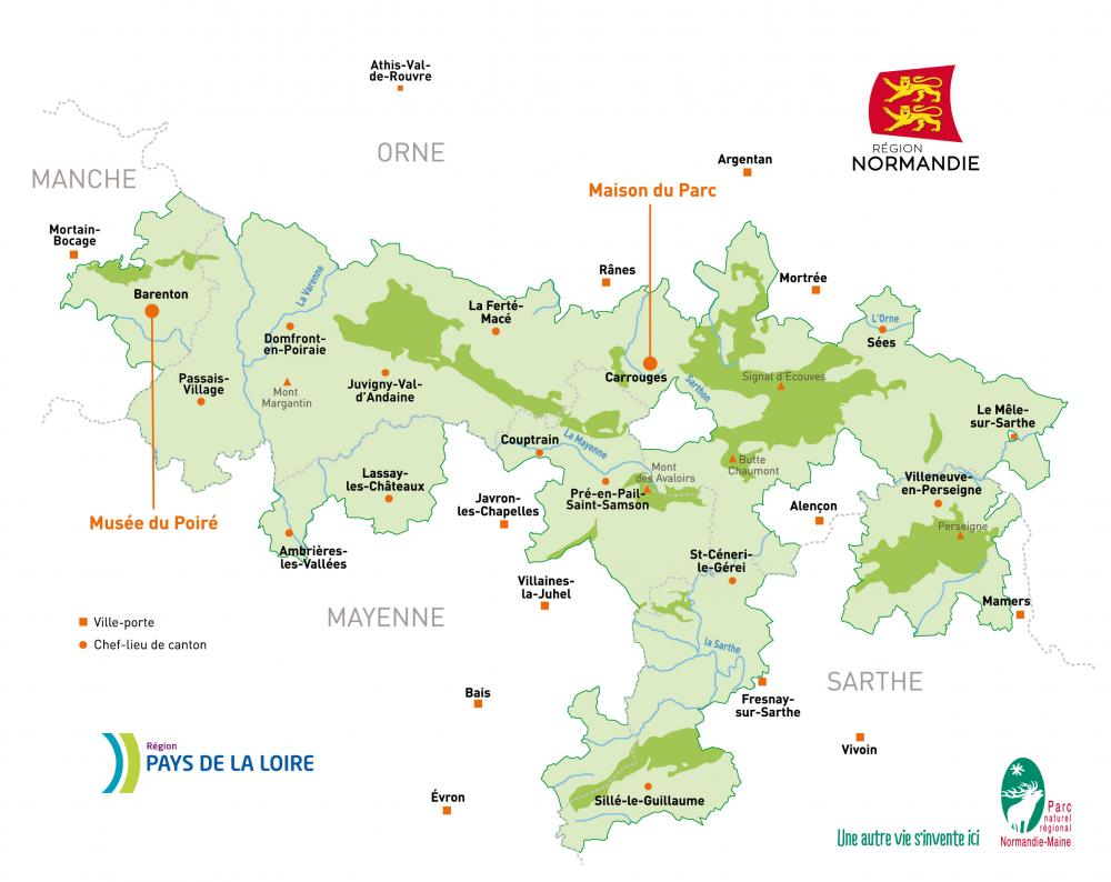 La carte du Parc naturel régional Normandie-Maine